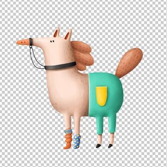 Cavalo dos desenhos animados mão ilustrações desenhadas
