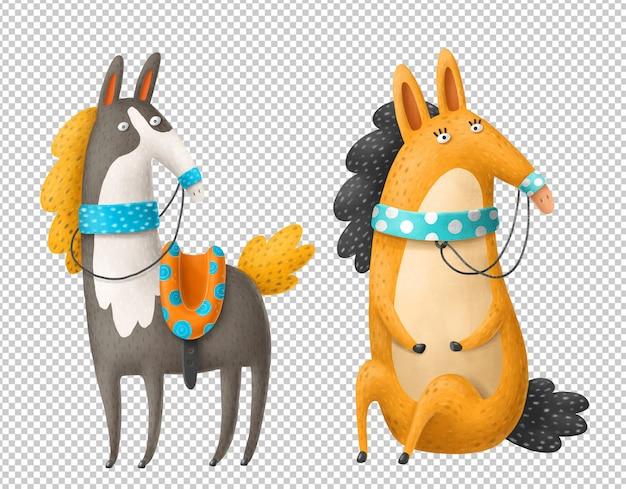 Cavalos dos desenhos animados mão ilustrações desenhadas