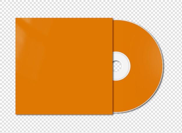 Cd laranja - modelo de maquete de dvd isolado no branco