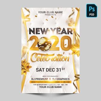 Celebração de ano novo em branco e ouro