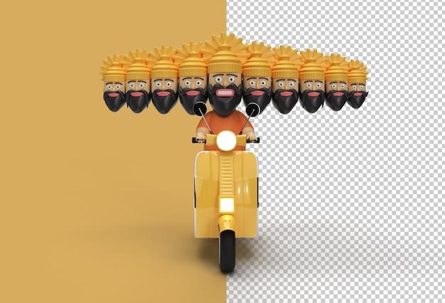 Celebração de dussehra - ravana com arquivo psd transparente de ten heads riding motor scooter.