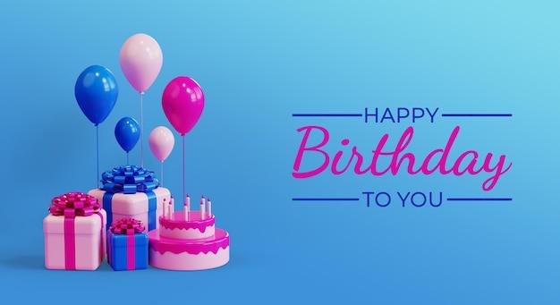 Celebração de feliz aniversário com caixas de presente 3d realistas, bolo e balão renderizado