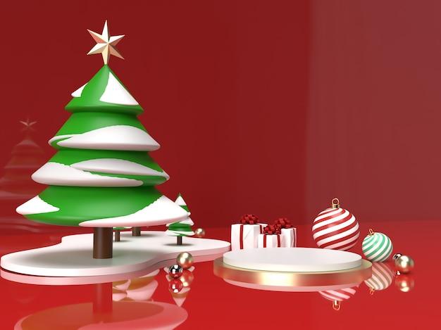 Celebração de natal com árvore de natal, bola e cena de produto em 3d