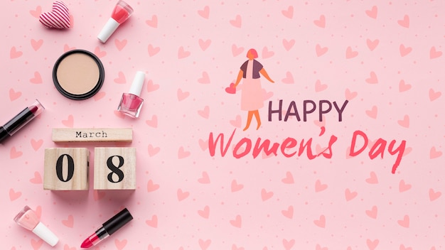 Celebração do dia das mulheres com maquete