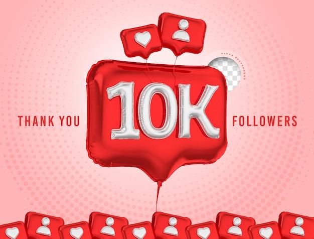 Celebração em balão de 10 mil seguidores, obrigado, renderização em 3d, mídia social