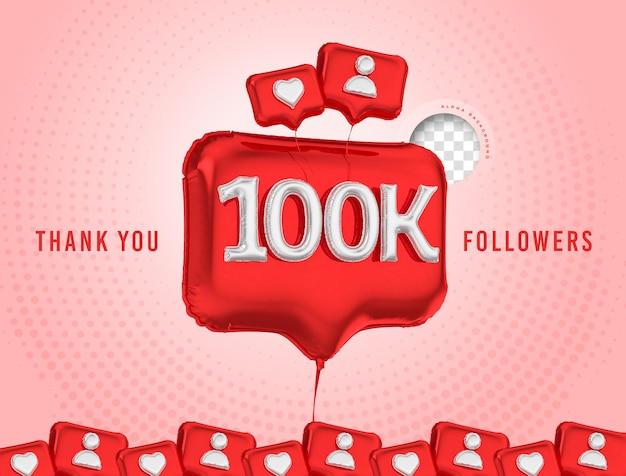 Celebração em balão de 100 mil seguidores, obrigado, mídia social 3d render