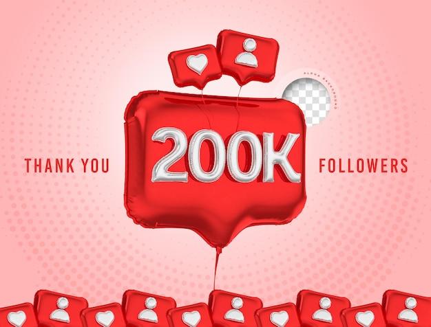 Celebração em balão de 200 mil seguidores, obrigado, renderização em 3d nas mídias sociais