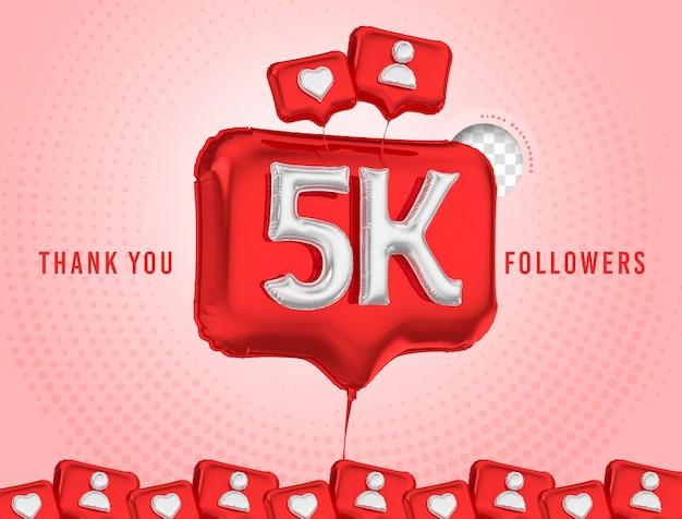 Celebração em balão de 5 mil seguidores, obrigado, renderização em 3d nas mídias sociais