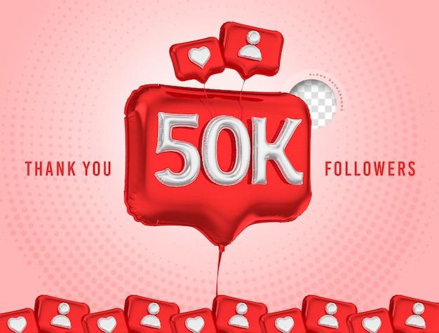Celebração em balão de 50 mil seguidores, obrigado, mídia social 3d render