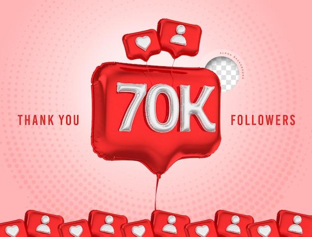 Celebração em balão de 70 mil seguidores, obrigado, renderização em 3d nas mídias sociais