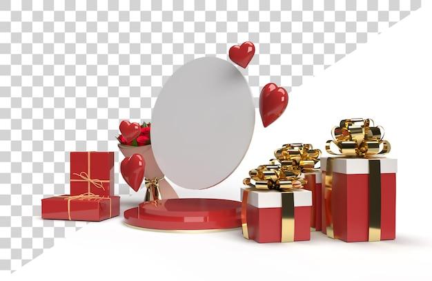 Celebração romântica da cena do palco 3d para o dia dos namorados com presente