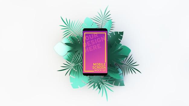 Celular com folhas de palmeira tropicais renderização em 3d