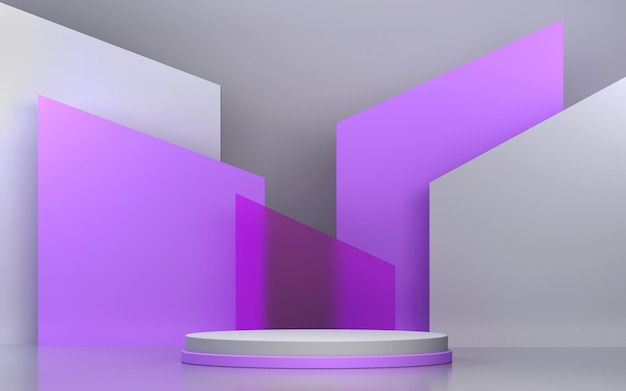 Cena abstrata e pódio para exposição de produtos com formas geométricas