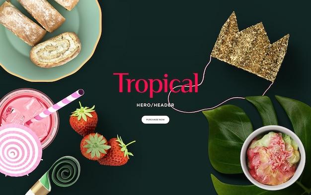 Cena de cabeçalho de herói tropical
