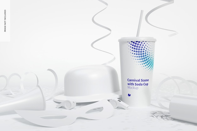 Cena de carnaval com maquete de copo de refrigerante, vista frontal
