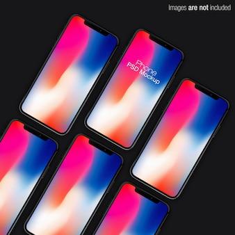 Cena de coleção vertical de iphone x psd mockup