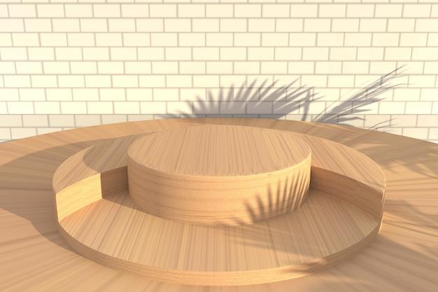 Cena de fundo de madeira abstrata para renderização de exibição de produto