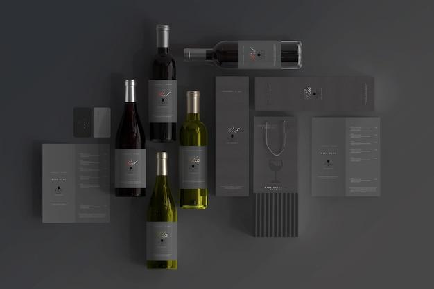 Cena de maquete de branding de vinho