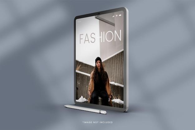 Cena de maquete de tablet digital com sombra de exibição de moda