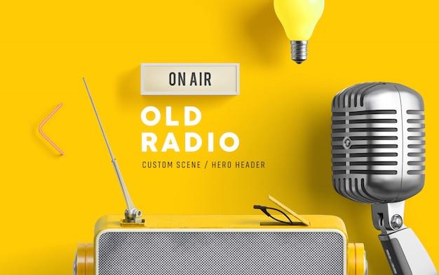 Cena feita sob encomenda de rádio velha