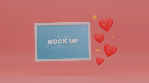 Cena mínima do dia dos namorados com maquete e corações 3d realistas