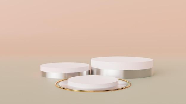 Cena minimalista com pódio e fundo abstrato.