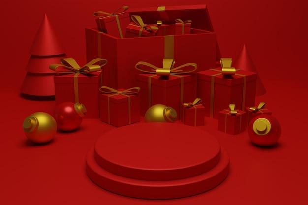 Cena moderna do pódio de natal vermelho para apresentação do produto