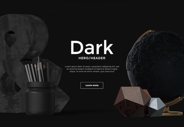 Cena personalizada de cabeçalho de herói escuro