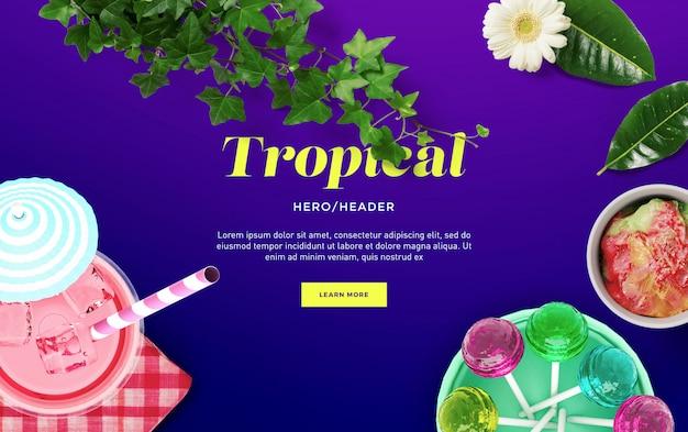 Cena personalizada de cabeçalho de herói tropical