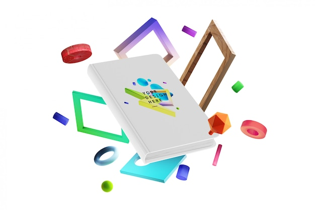 Cena personalizada de mock-up de perspectiva de livro de capa dura