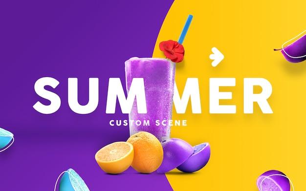 Cena personalizada de verão com mockup de suco