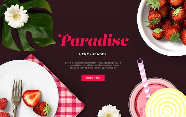 Cena personalizada do cabeçalho do herói do paraíso
