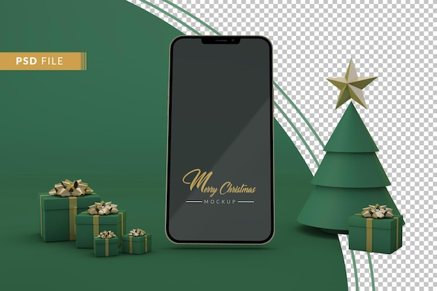Cena verde de maquete de smartphone com presente de natal para propaganda online de compras