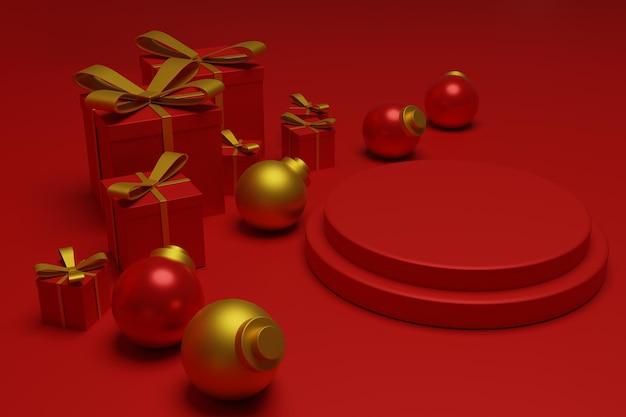 Cenário moderno de pódio de natal vermelho para exposição de produtos