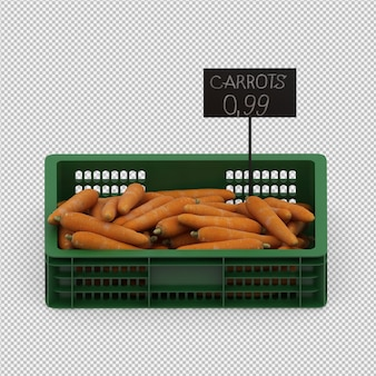 Cenouras isométricas 3d render