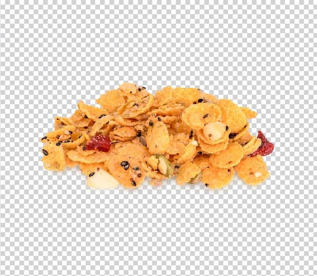 Cereais com morangos e amêndoas feijão isolado premium psd