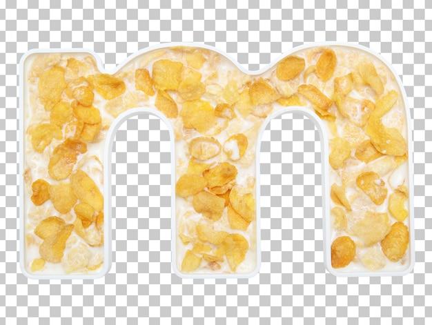 Cereais de flocos de milho com leite na tigela da letra m