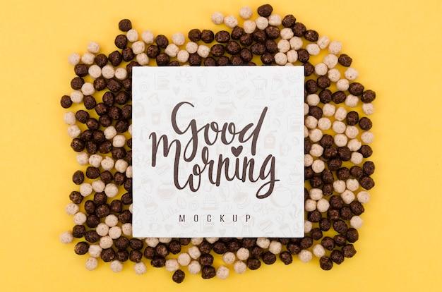 Cereais preto e branco com mensagem de bom dia