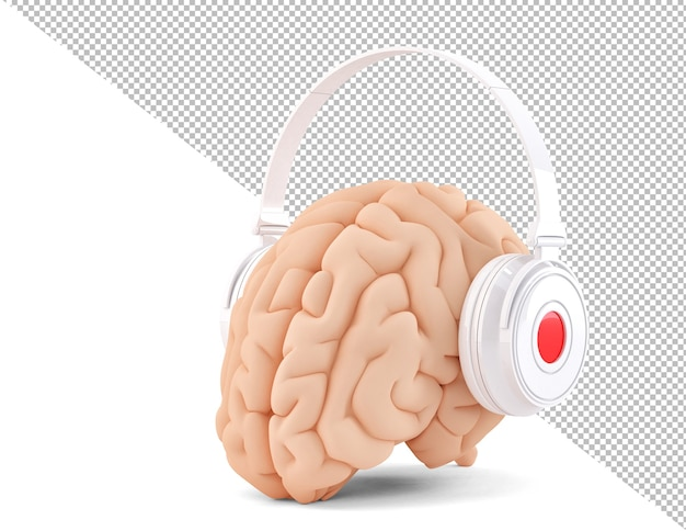 Cérebro com fones de ouvido em fundo branco ilustração 3d