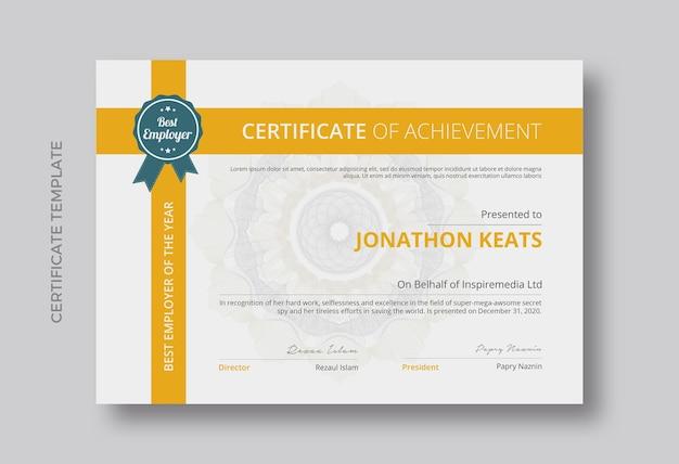 Certificado de design de modelo de realização