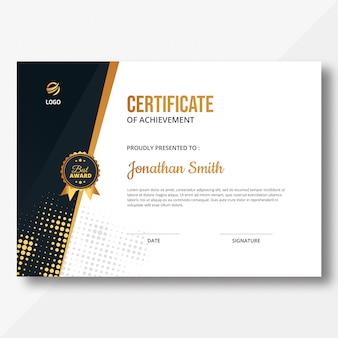 Certificado de meio-tom dourado