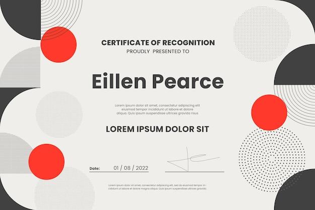 Certificado de modelo de realização moderno com formas geométricas