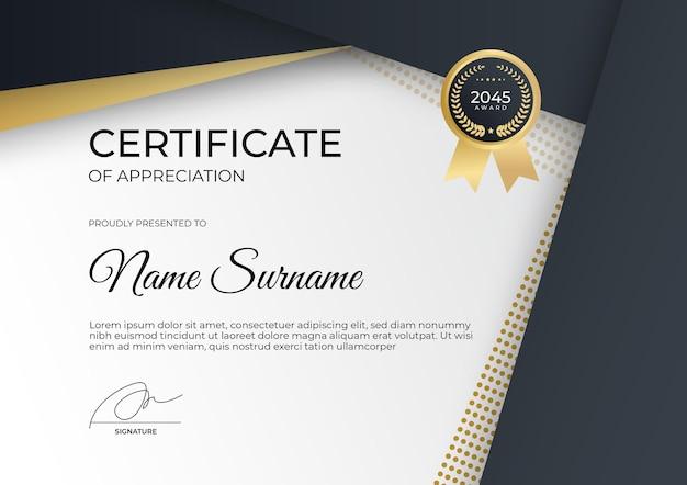 Certificado de realização ou modelo de certificado de apreciação moderno ouro preto