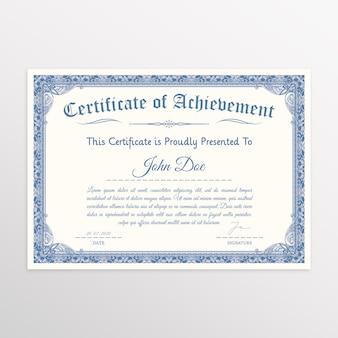 Certificado elegante com moldura clássica