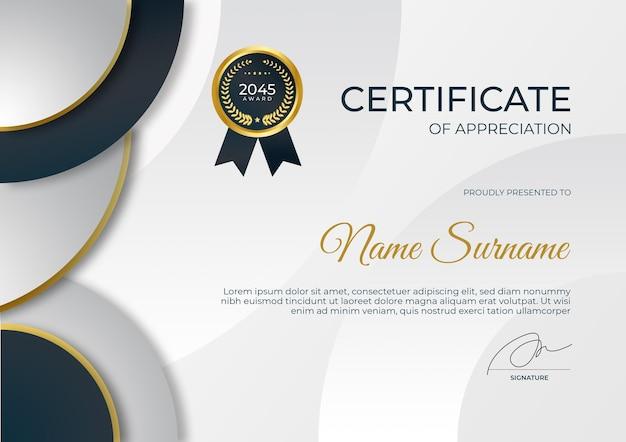 Certificado moderno de modelo de agradecimento terno para necessidades empresariais e educacionais premiadas