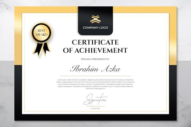 Certificado moderno de modelo de conquista