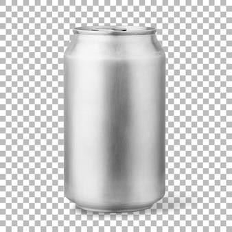Cerveja gelada fresca em lata de prata isolada