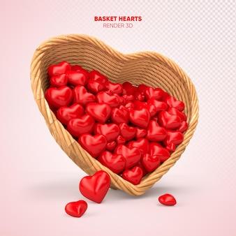 Cesta com corações 3d render cartão realista dia das mães
