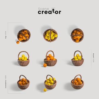 Cesta com limões e laranjas vista do criador de cena de primavera