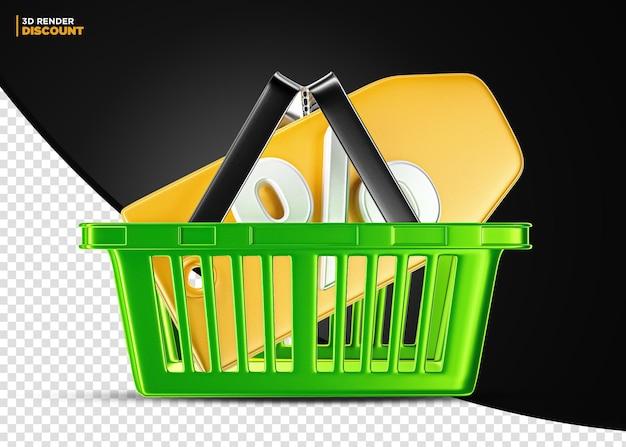 Cesta de compra de supermercado verde com etiqueta de desconto isolada para composição